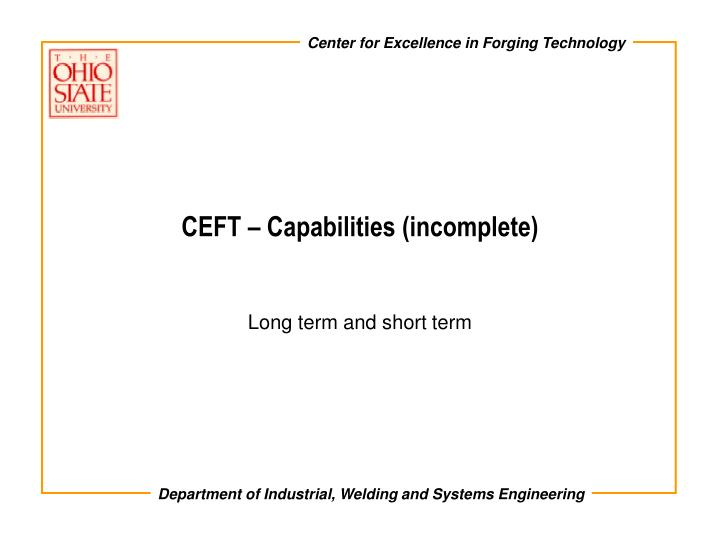 ceft capabilities incomplete n.