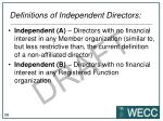 definitions of independent directors