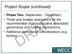 project scope continued