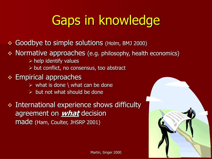 Gaps in knowledge
