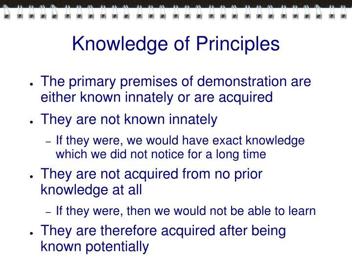 Knowledge of Principles