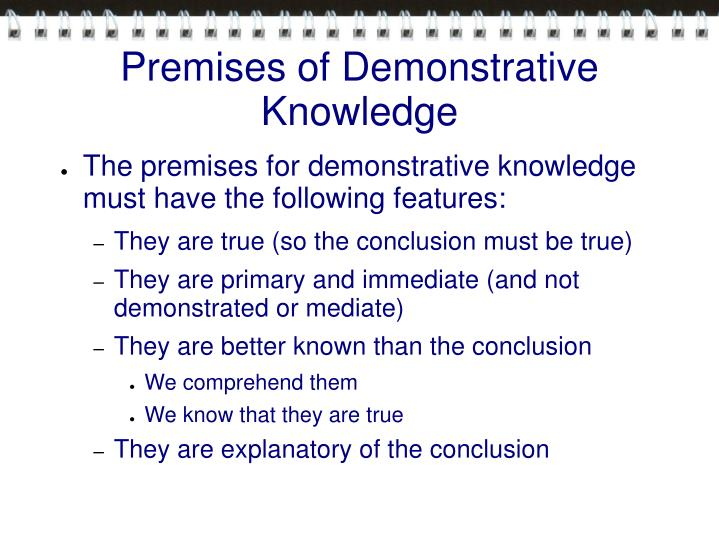 Premises of Demonstrative Knowledge