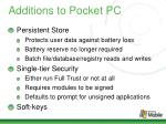 additions to pocket pc