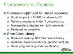 framework for devices