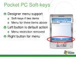 pocket pc soft keys