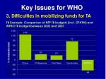 key issues for who23
