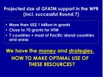 projected size of gfatm support in the wpr incl successful round 7