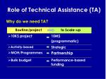 role of technical assistance ta