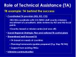 role of technical assistance ta15