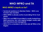 who wpro and ta