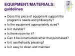 equipment materials guidelines