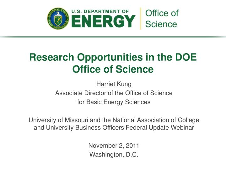research opportunities in the doe office of science n.