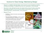 science for clean energy materials by design