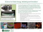 science for clean energy modeling and simulation