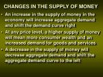 changes in the supply of money