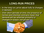 long run prices