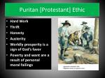 puritan protestant ethic