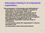 information sharing in an empowered organization
