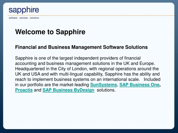 Welcome to Sapphire