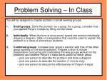 problem solving in class