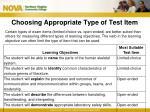 choosing appropriate type of test item