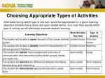 choosing appropriate types of activities