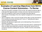 examples of learning objectives from nova course content summaries to revise