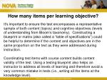 how many items per learning objective