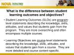 what is the difference between student learning outcomes and objectives