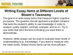 writing essay items at different levels of bloom s taxonomy