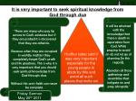it is very important to seek spiritual knowledge from god through dua