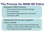 the process for nami de policy