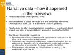 narrative data how it appeared in the interviews