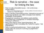 risk narrative the case for linking the two