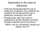 asymmetry in the rules of discourse
