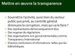 mettre en uvre la transparence