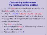 constructing additive trees the neighbor joining problem