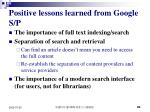 positive lessons learned from google s p