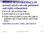 remarks on incorporating in ir journal articles already published and rights relinquished
