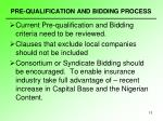 pre qualification and bidding process