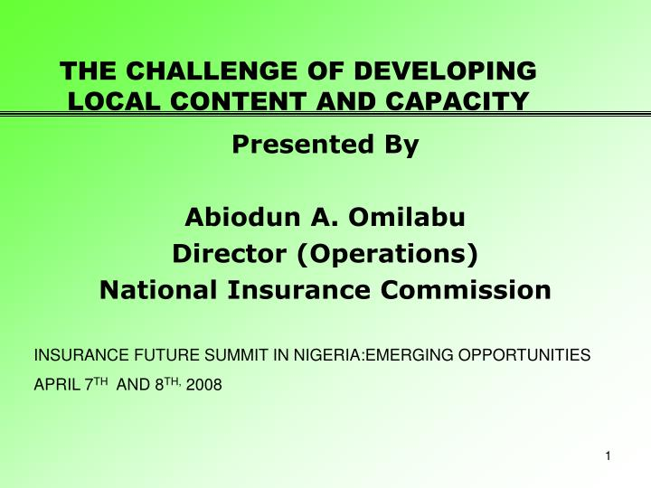 the challenge of developing local content and capacity n.