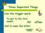 three important things