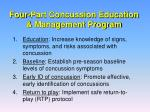 four part concussion education management program