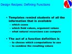 design recipes defining functions