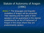 statute of autonomy of aragon 1996