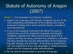 statute of autonomy of aragon 2007