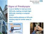 signs of presbyopia