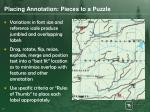 placing annotation pieces to a puzzle