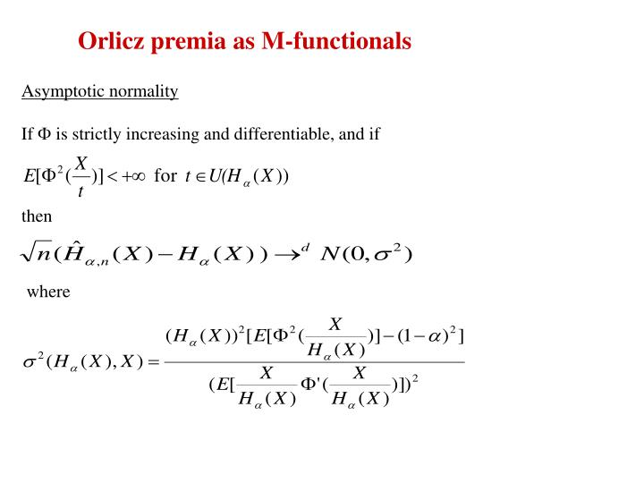 Orlicz premia as M-functionals