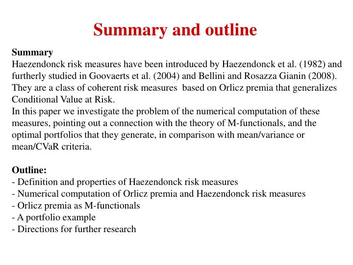 Summary and outline